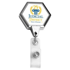 Chrome Jumbo Hexagon Retractable Badge Reel (Label)